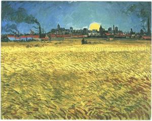 Puesta-del-sol--Campos-de-trigo-cerca-de-Arles