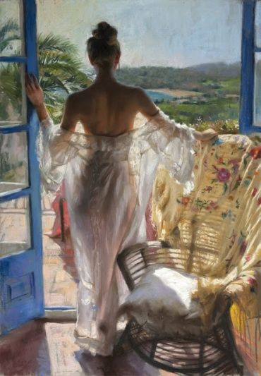 mujerthe-paintings-of-vicente-romero-redondo-lovely-women-in-hot-weather-boy-with-a-hat-1381023873_b