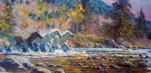 pintura-de-caballos-caminado-corriendo-por-el-agua-pinturas_16