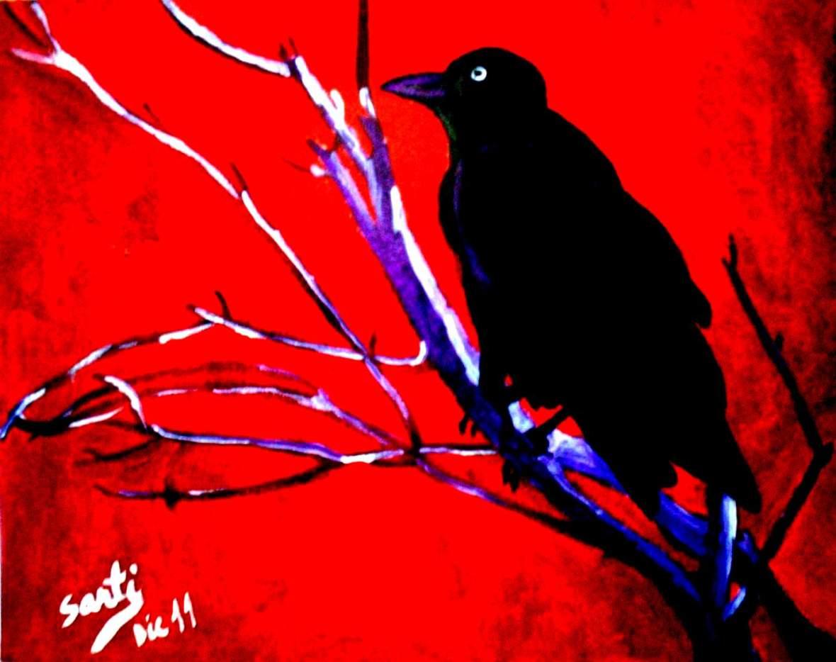 Cuervo crepuscular-Dic11-óleo sobre papel-24x30