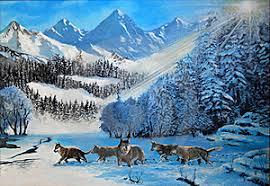 lobos en la nieve