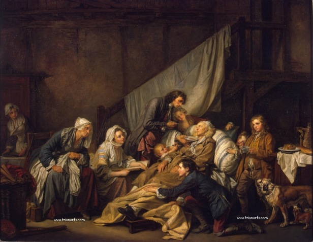 anciano.Jean Baptiste Greuze - 1 Filial Piety (The Paralytic)-Hermitage