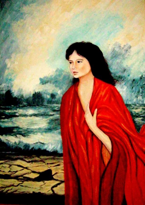 Mujer de reboos rojo