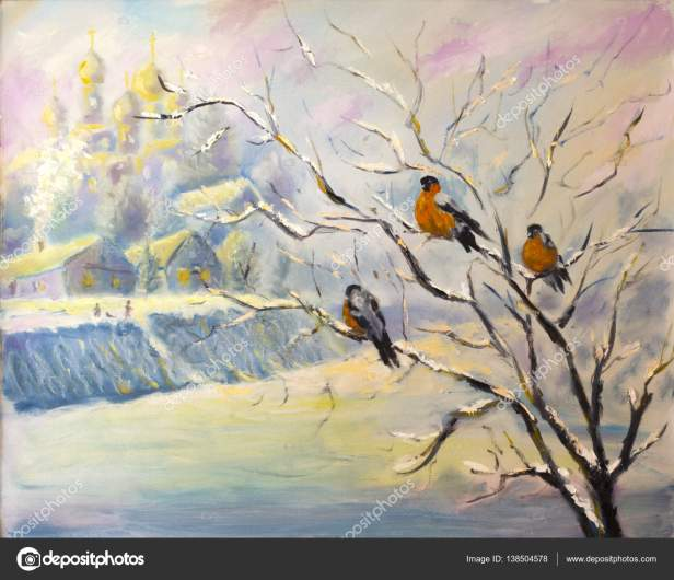 Oil painting of birds on a tree in winter village on canvas. Modern Impressionism Art