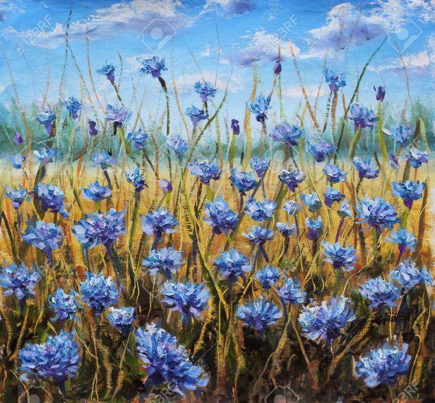 flower-field-fleurs-bleues-dans-le-pré-ciel-bleu-peinture-à-l-huile-