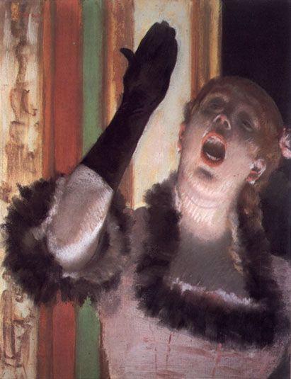 mujer cantando Degas