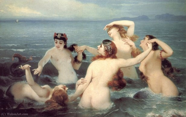 sirenas Charles_Edouard_Boutibonne-Mermaids_Frolicking_in_the_Sea
