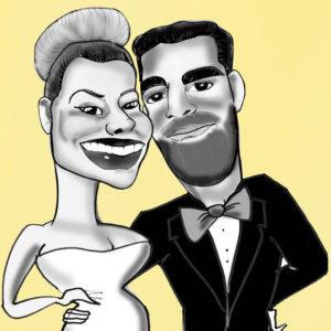 Caricatura-de-novios-en-blanco-y-negro-300x300