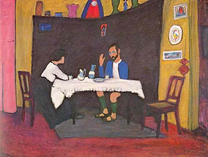 Desde el otro lado del cuadro: Gabriele Münter - Kandinsky y Erma Bossi  sentados a la mesa